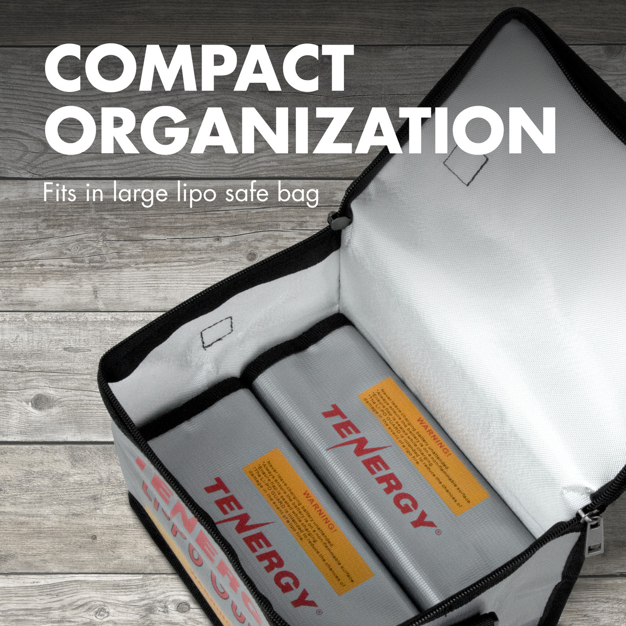 Tenergy Pack of 2, Fireproof and explosion-proof  lipo safe bags, 7.3x3x2.4 inch (185x75x60mm) each