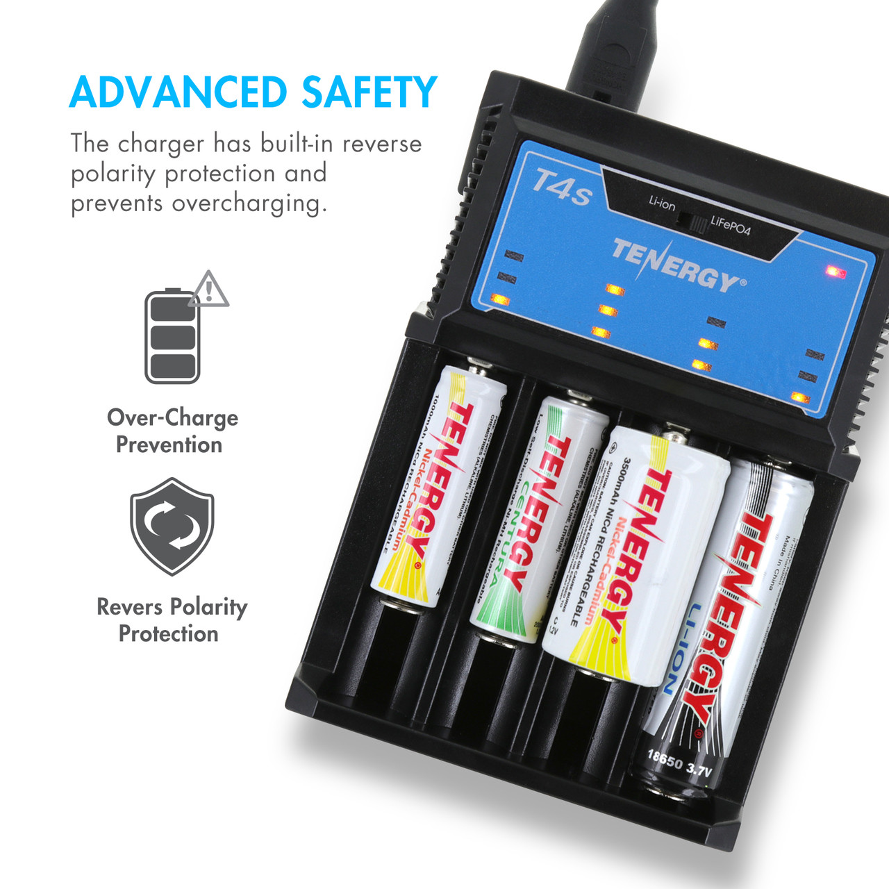 Tenergy T4s Intelligent 4-Bay Universal Charger (for Li-ion, LiFePO4, NiMH and NiCd Rechargeable Batteries)