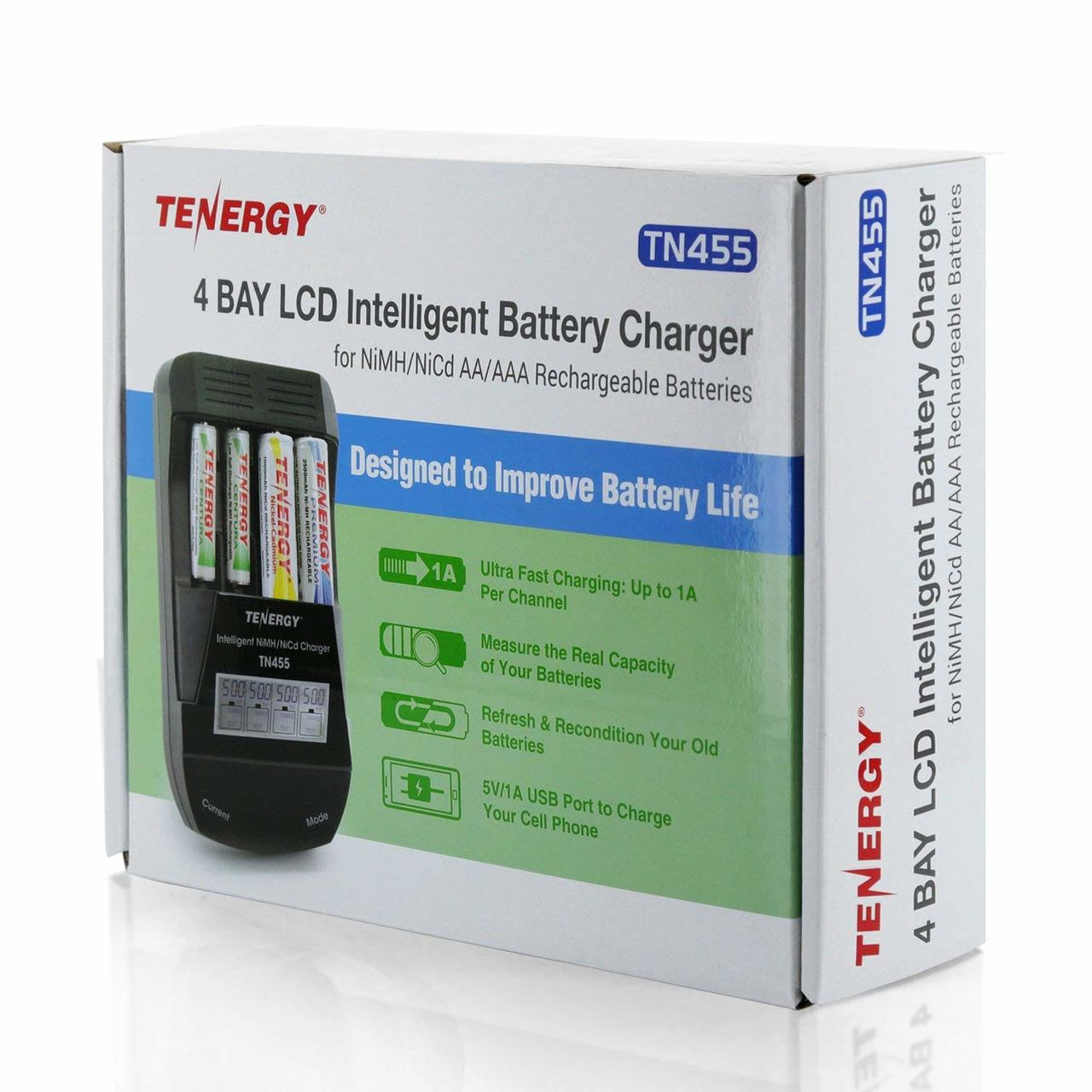 Tenergy TN455 Intelligent Battery Charger for NiMH/NiCd AA/AAA Rechargeable Batteries, 4-Bay, LCD Screen, USB output