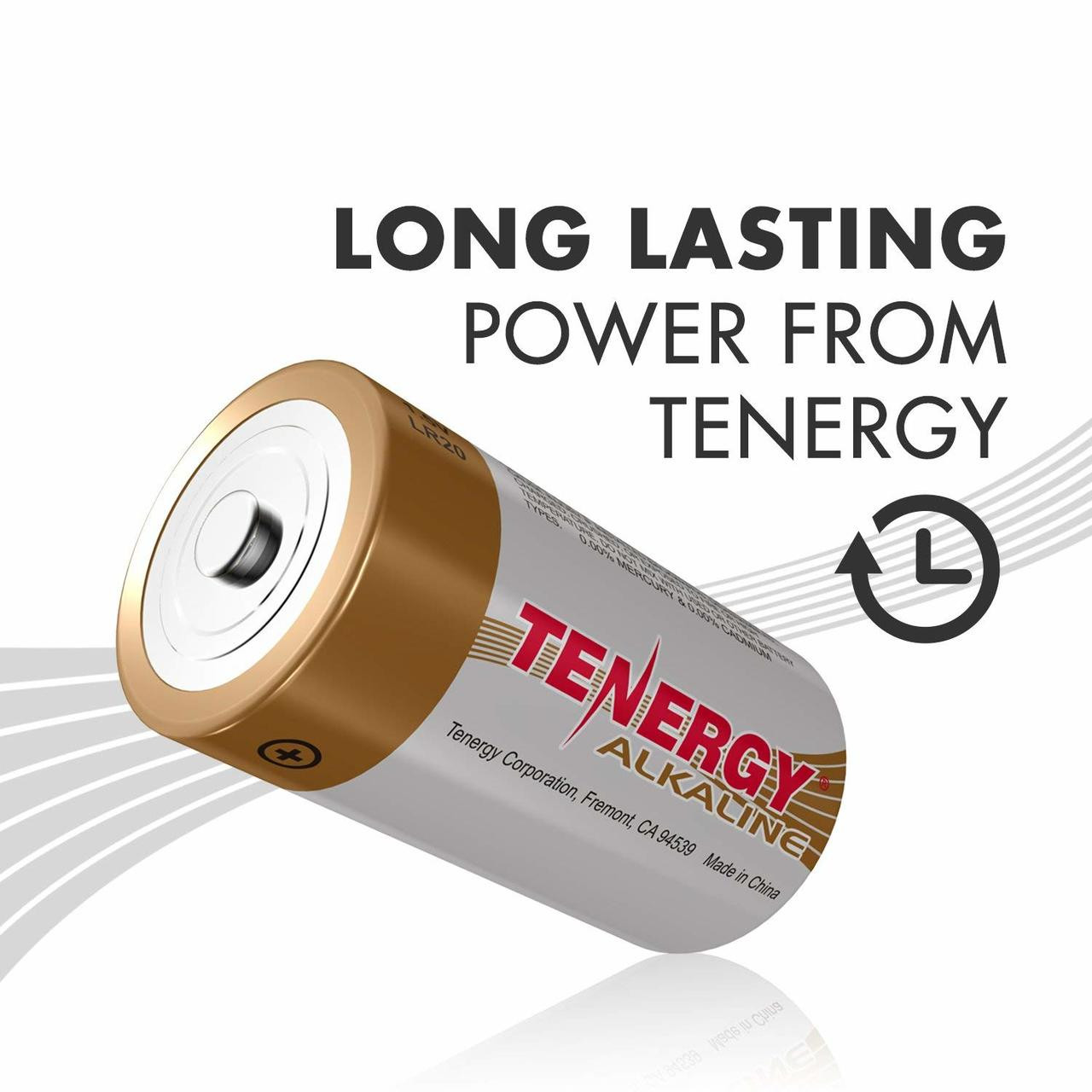 1 Box: 12pcs Tenergy D Size (LR20) Alkaline Batteries