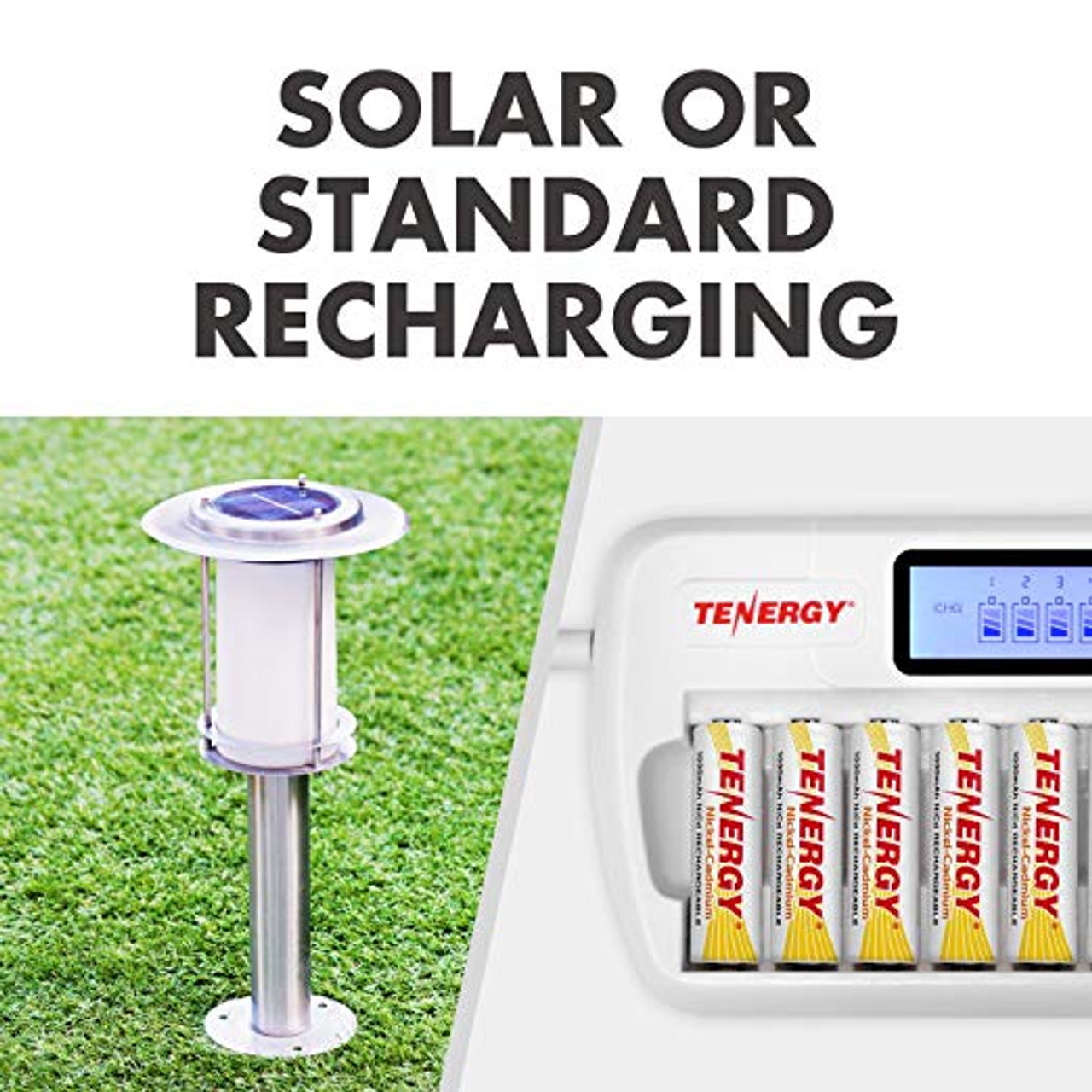 4 Pack Tenergy AA 1000mAh NiCd Rechargeable Batteries for Solar Lights