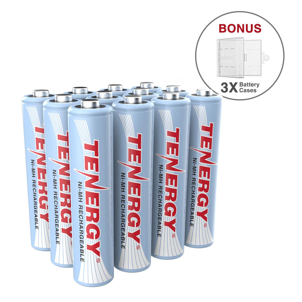 12 pcs Tenergy AAA 1000mAh NiMH Rechargeable Batteries + 3 AAA Size Holders