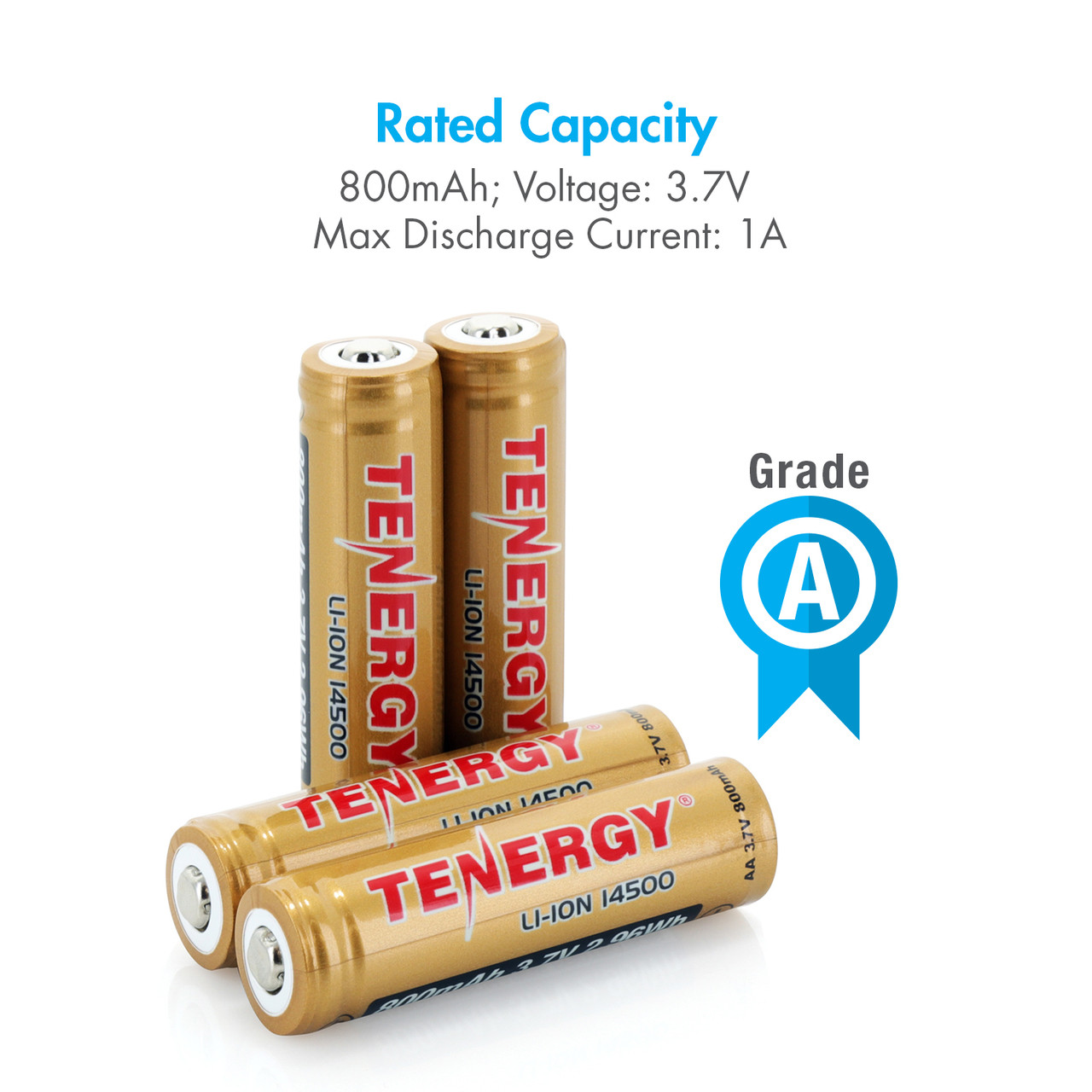 Tenergy 3.7V 800mAh Protected 14500 Li-ion Rechargeable Battery, Button Top, 2.96Wh (4-pk)