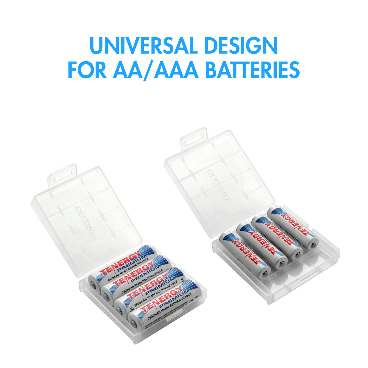 5 AA & 5 AAA Tenergy Plastic Cases - 4 Battery Slots (Batteries sold separately)