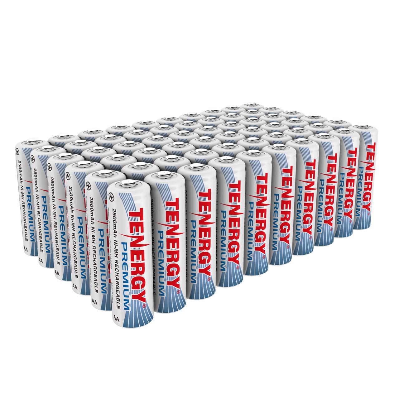 60pcs Tenergy Premium AA 2500mAh NiMH Rechargeable Batteries