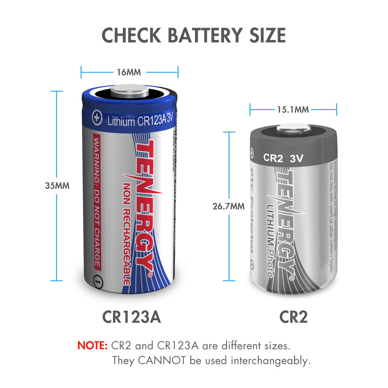 Tenergy Lithium CR123A 3V Non-rechargeable Batteries w/ PTC, 12-pack (1 x Card)