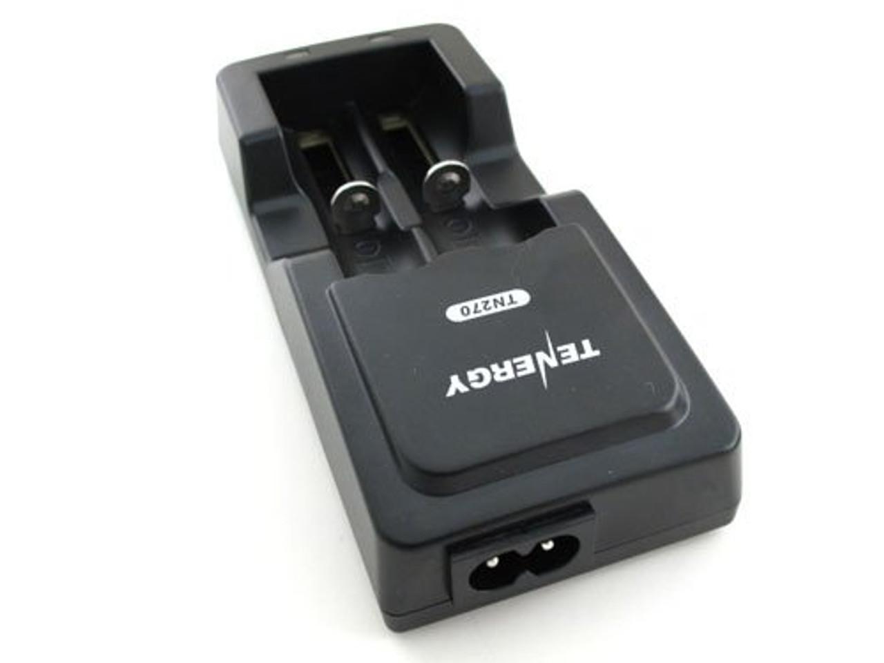 Card: Tenergy TN270 Li-ion Battery Charger + 2 Li-ion 18650 3.7V 2600mAh Button Top Battery w/ PCB (w/ Car Plug)