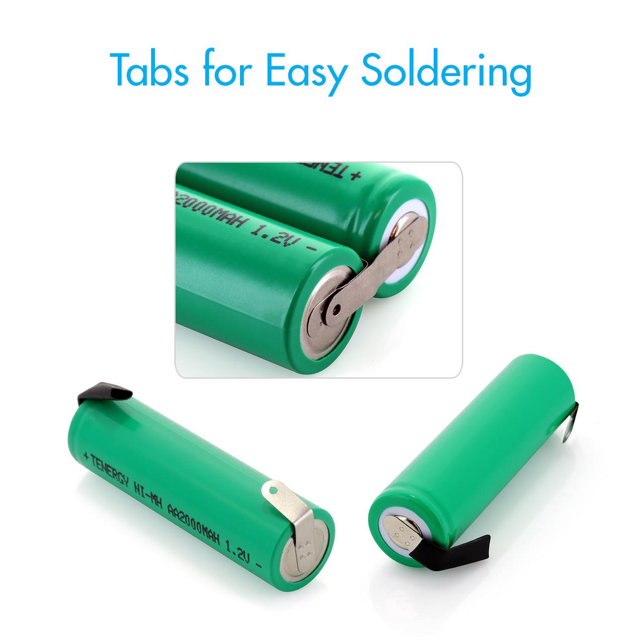COMBO: 10pcs NiMH AA 2000mAh Flat Top Rechargeable Batteries (w/Tabs)