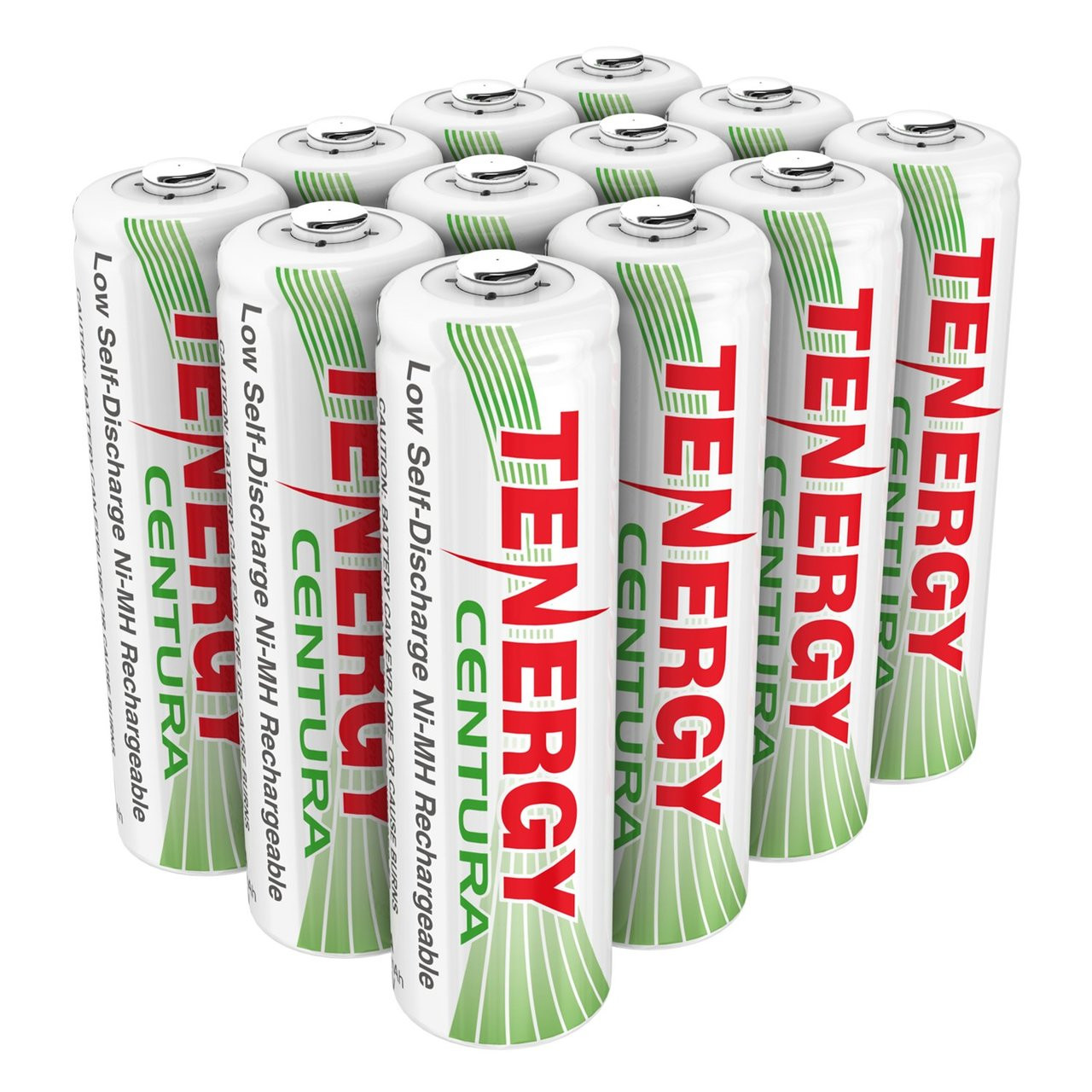 Combo: Tenergy Centura NiMH AA 1.2V 2000mAh Rechargeable Batteries, 12-Pack