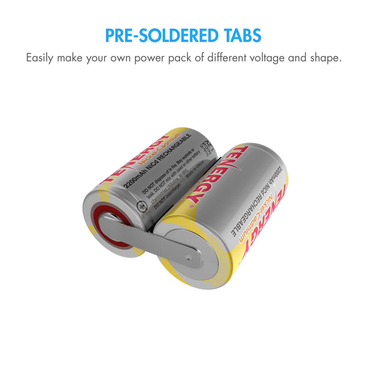 Combo: 15 pcs Tenergy Sub C 2200mAh NiCd Rechargeable Battery for Power Tools (w/ Tabs)