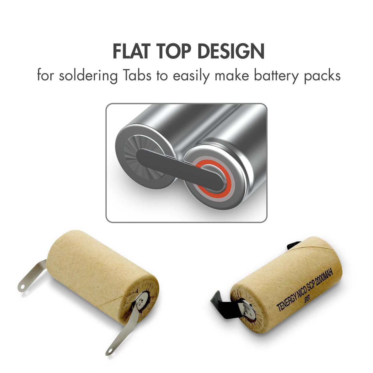 Combo: 15pcs of Tenergy NiCd SubC 2200mAh Paper Wrapped Rechargeable Battery (w/ Tabs)