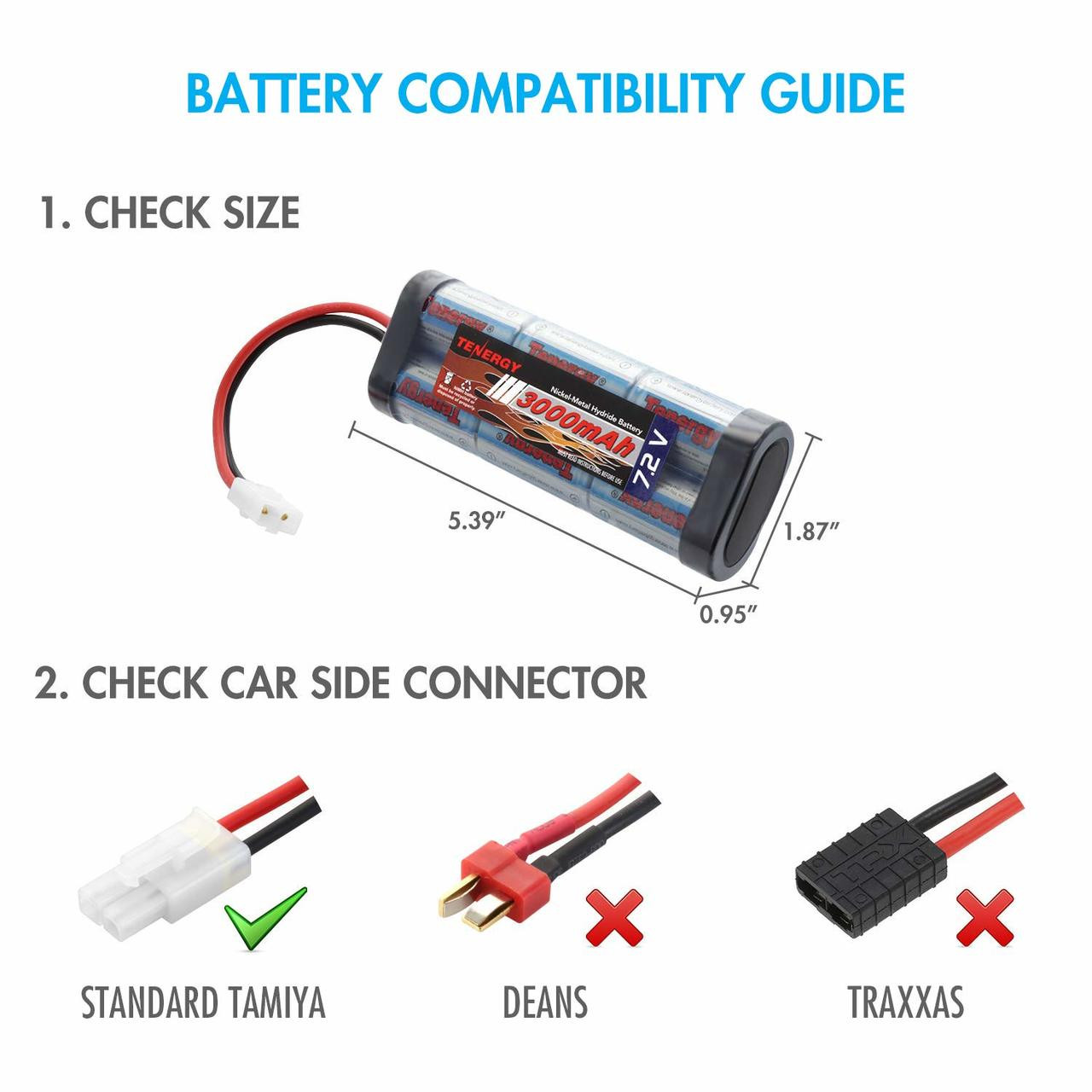 Combo: 2 x Tenergy 7.2V 3000mAh Flat NiMH Battery Packs w/ Tamiya  + Tenergy Smart Universal Charger for NiMH / NiCd Battery: 7.2V - 12V (#01005)