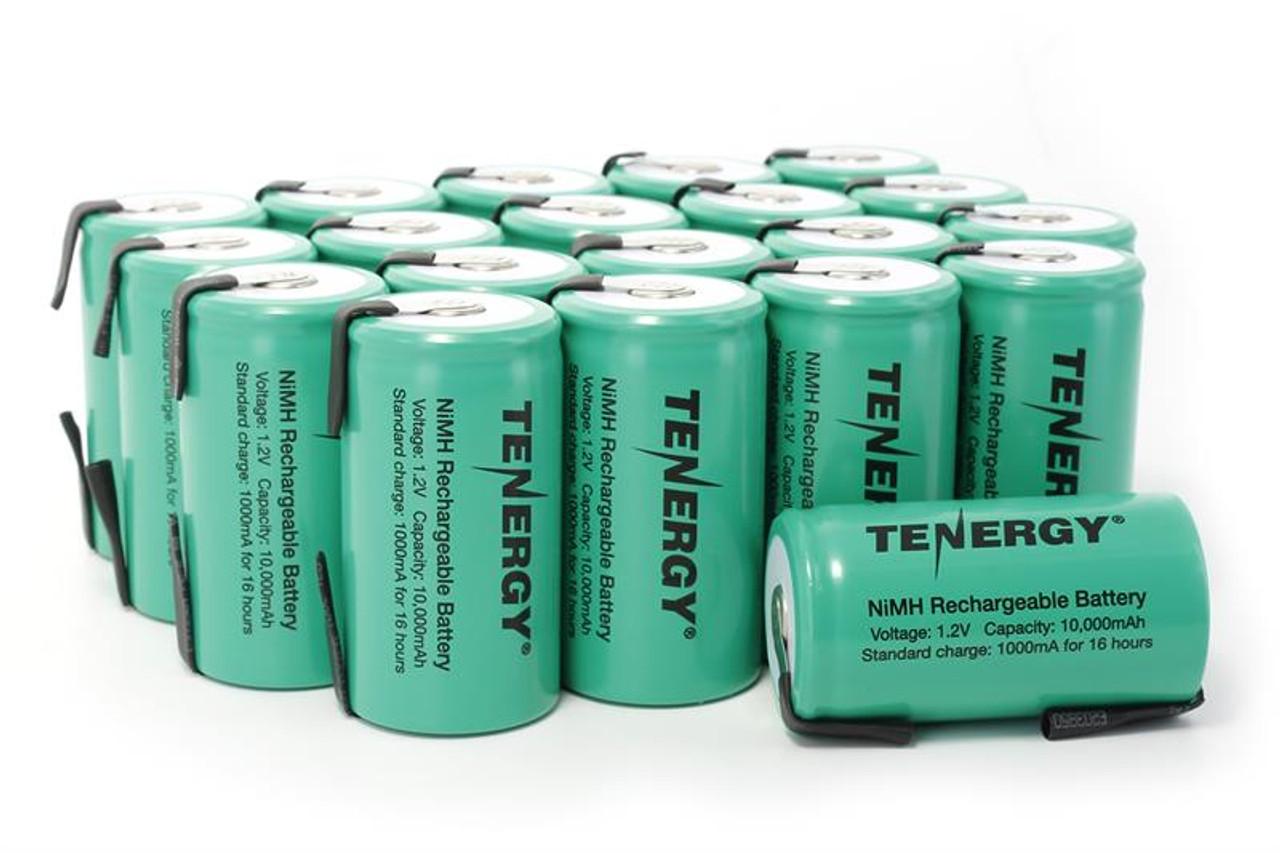 Combo: 20pcs Tenergy D 10,000mAh NiMH Rechargeable Batteries w/ Tabs
