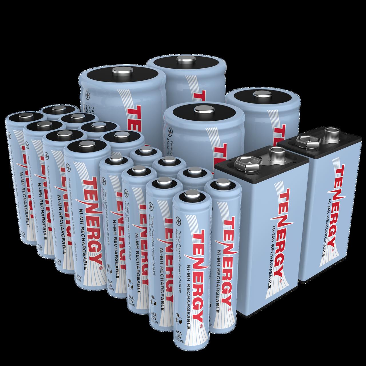 Combo: 22pcs Tenergy NiMH Rechargeable Batteries (8AA/8AAA/2C/2D/2 9V)