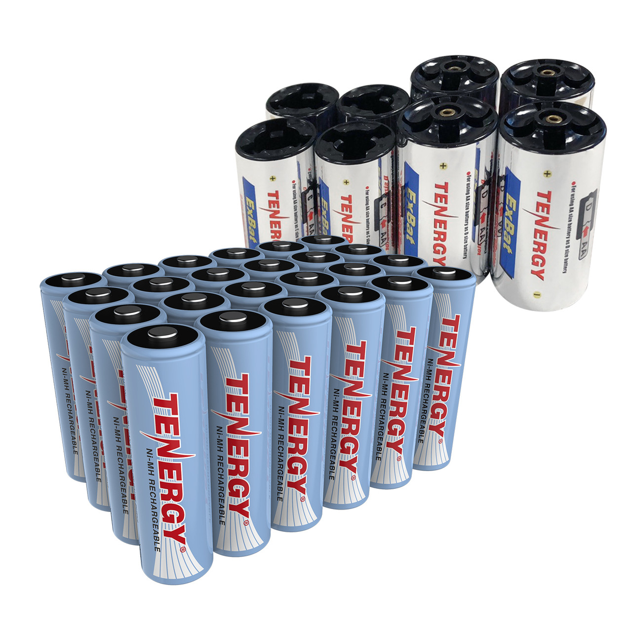 Combo: 24 pcs Tenergy AA 2500mAh NiMH Rechargeable Batteries + 4C & 4D Battery Adaptors