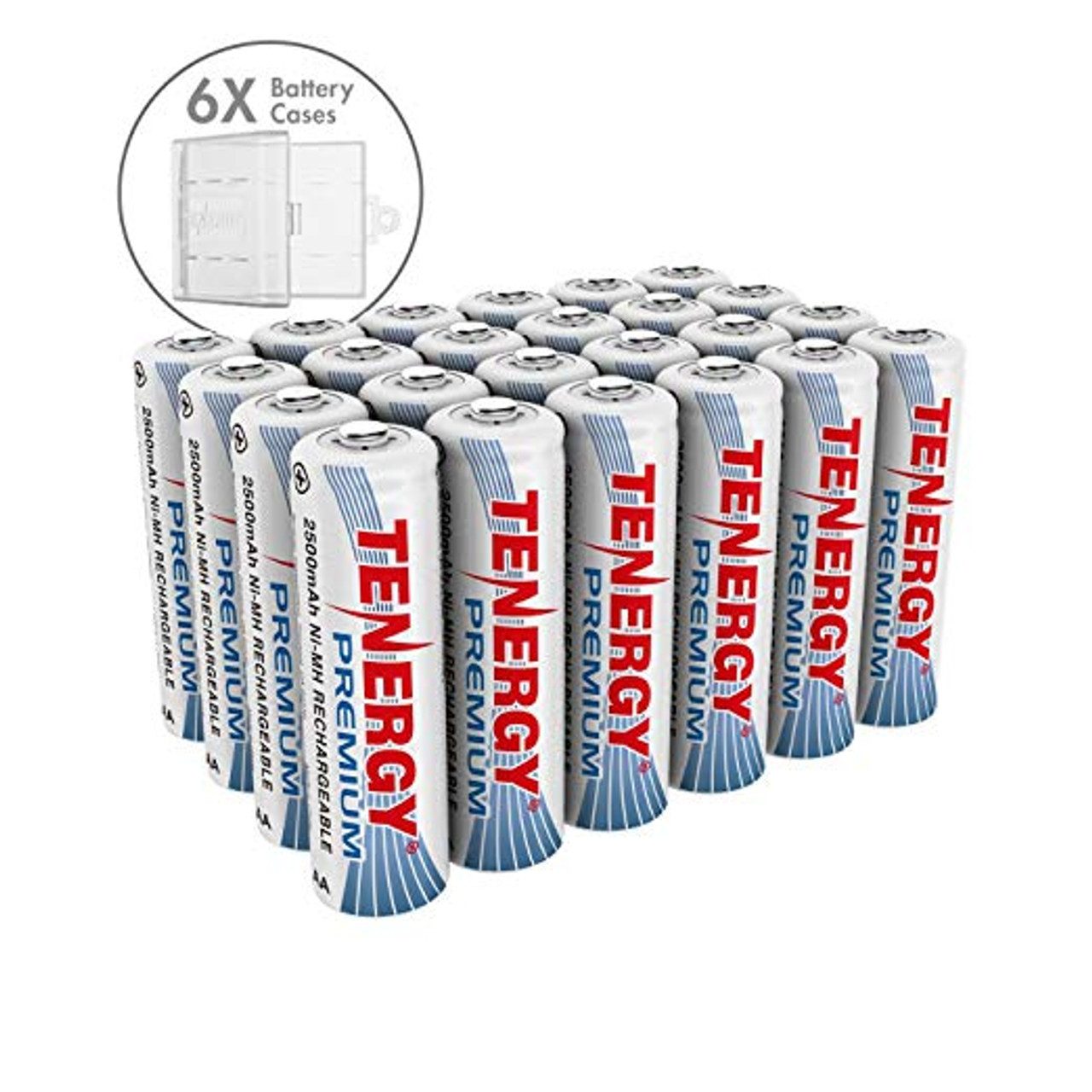 Combo: 24 pcs Tenergy Premium AA 2500mAh NiMH Rechargeable Batteries + 6 AA Size Holders