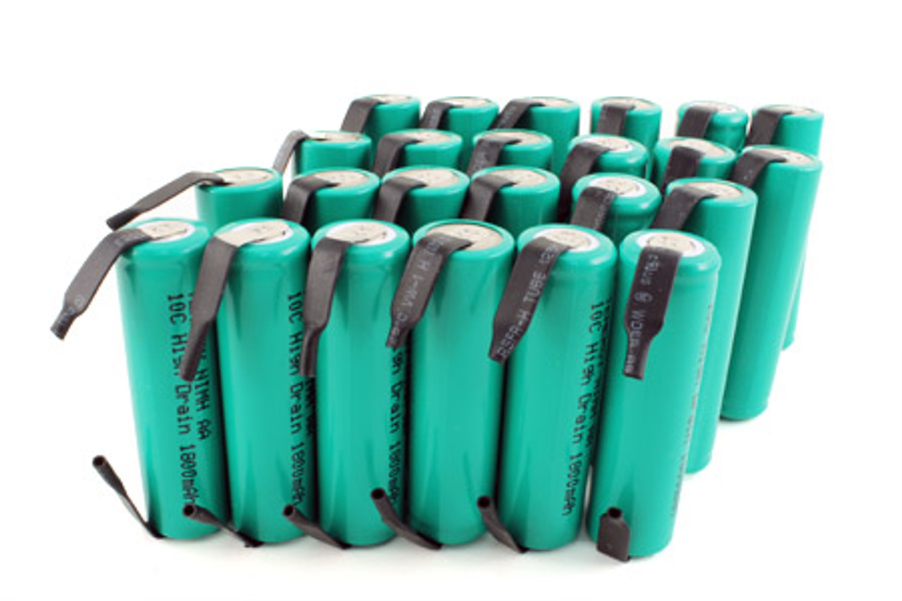 Combo: 24pcs Tenergy AA 1800mAh 10C NiMH Flat Top Rechargeable Battery w/ Tabs