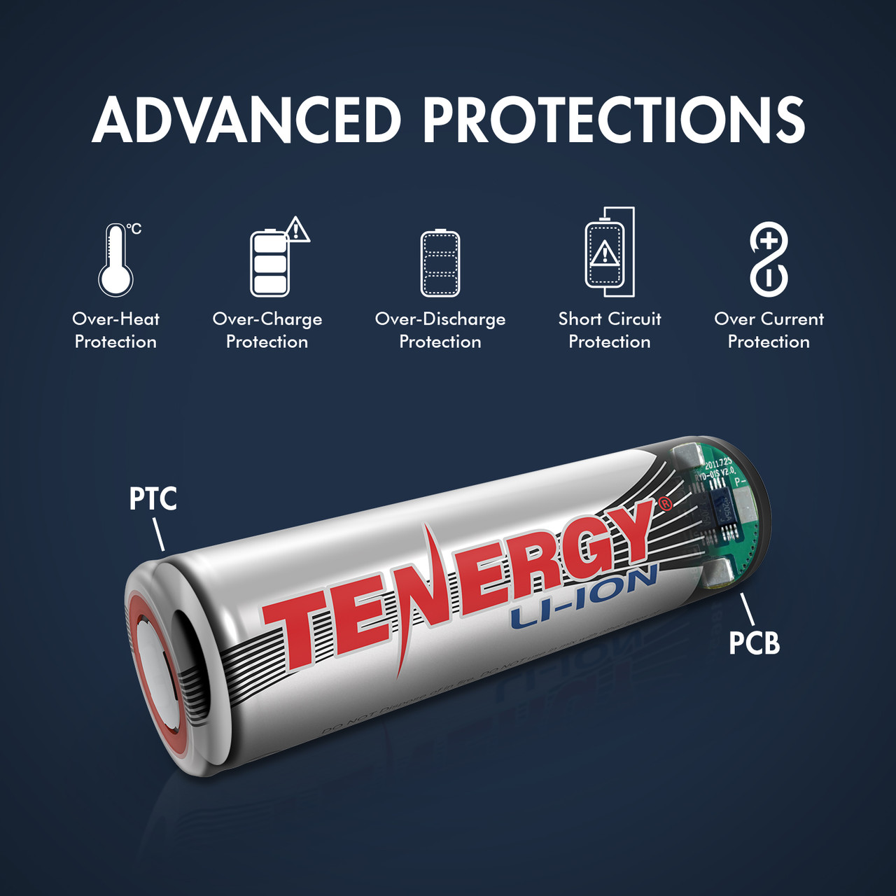 Combo: 4 PCS Tenergy Li-ion 18650 Cylindrical 3.7V 2600mAh Flat Top Rechargeable Batteries w/ PCB