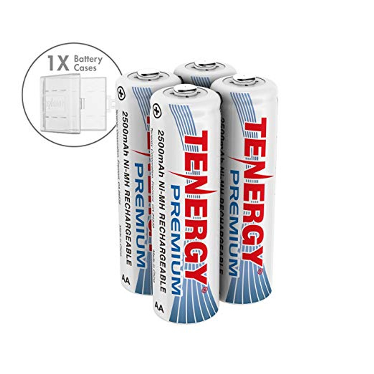 Combo: 4 pcs Tenergy Premium AA 2500mAh NiMH Rechargeable Batteries + 1 AA Size Holder