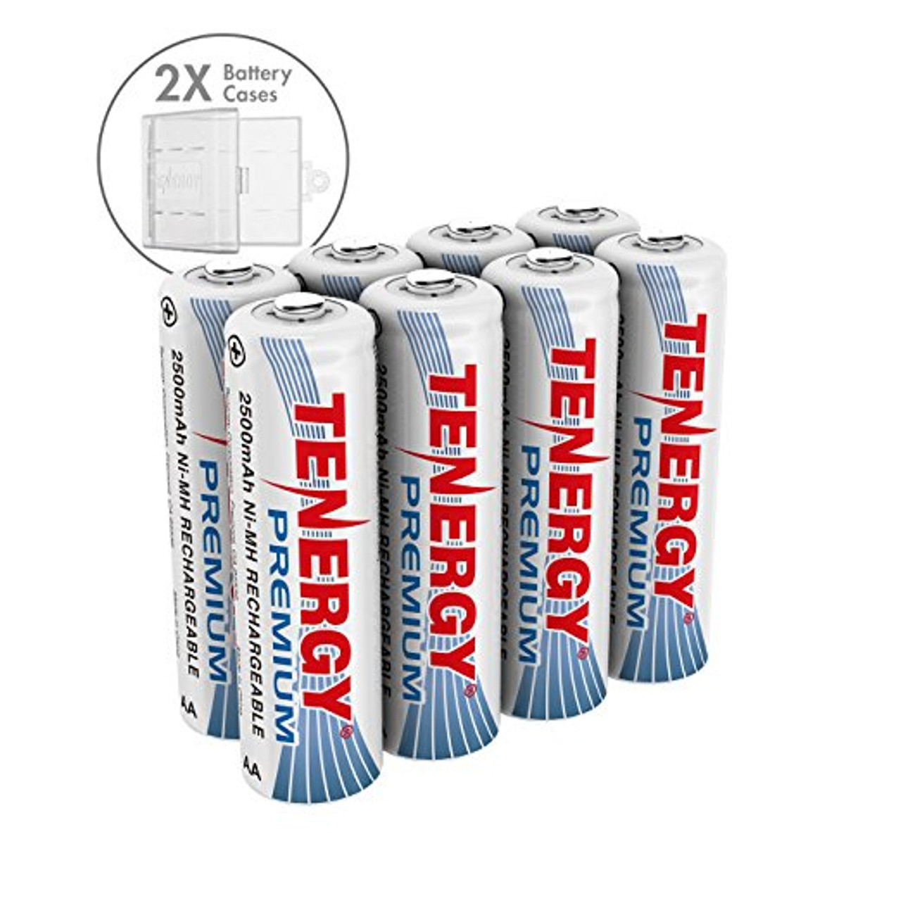 Combo: 8 pcs Premium AA NiMH Rechargeable Batteries w/ 2 Holders
