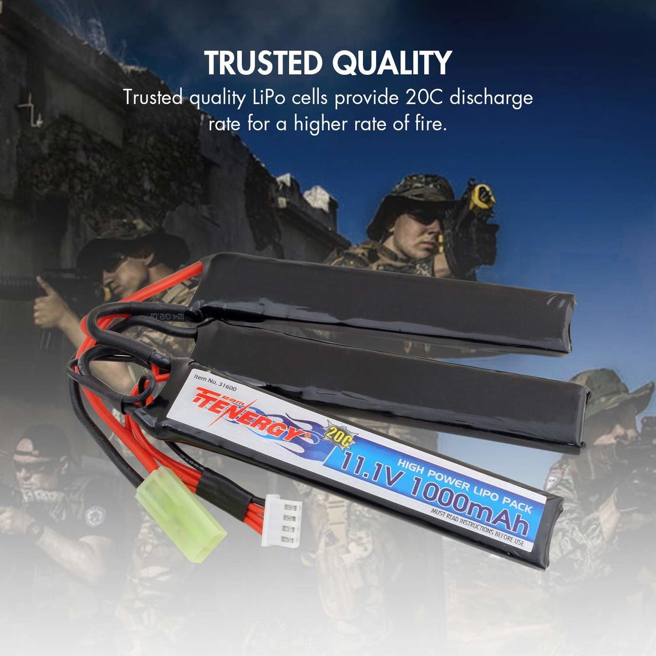 Combo: Tenergy Airsoft Li-Po 11.1V 1000mAh Crane Battery Pack w/ Mini Tamiya Connector + Balance Charger (#01267)