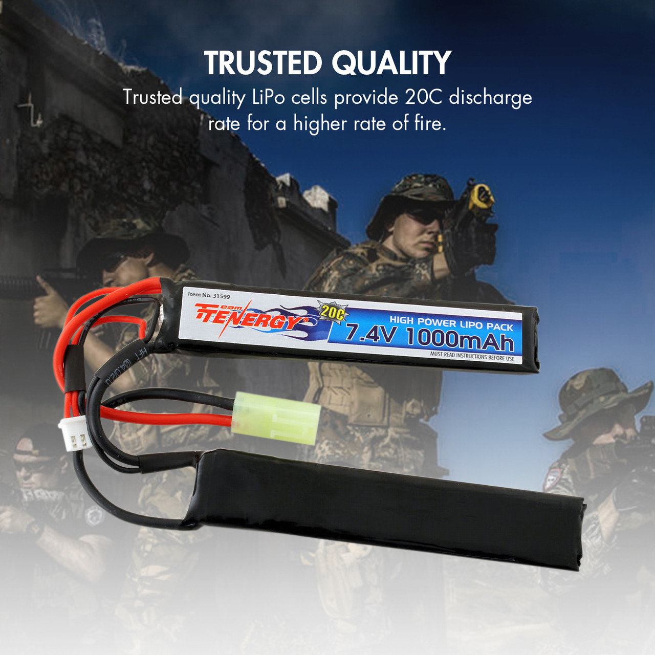 Combo: Tenergy Airsoft Li-Po 7.4V 1000mAh Butterfly Battery Pack w/ Mini Tamiya Connector + Balance Charger (#01267)