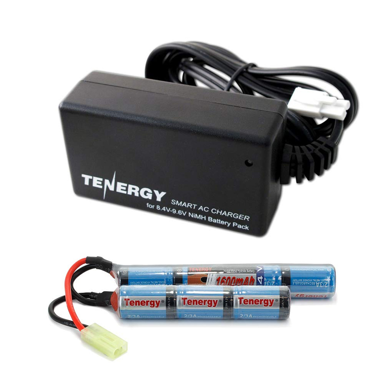 Combo: Tenergy Airsoft NiMH 8.4V 1600mAh Butterfly Mini Battery Pack + Charger (#01026)