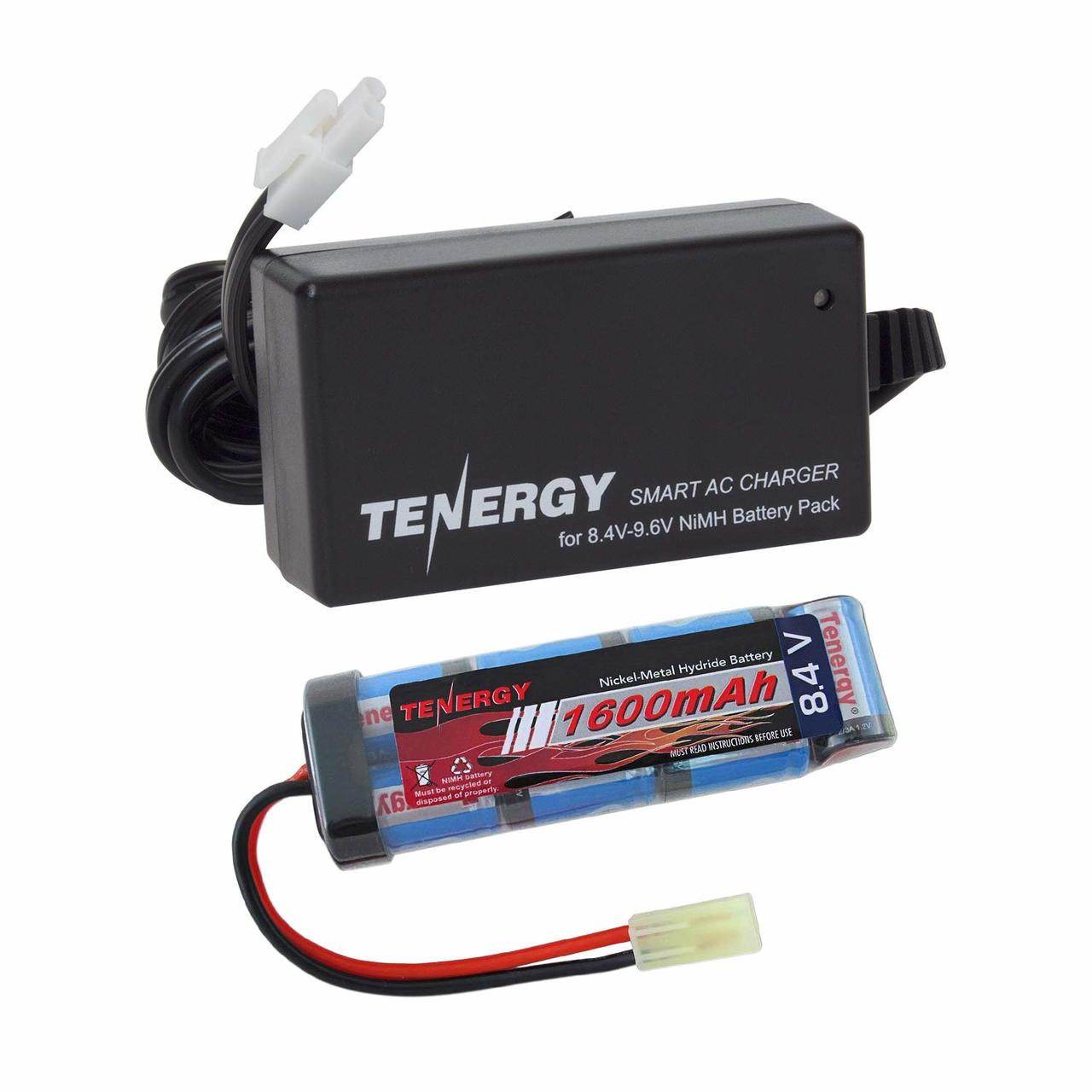 Combo: Tenergy Airsoft NiMH 8.4V 1600mAh Flat Battery Pack + Charger (#01026)