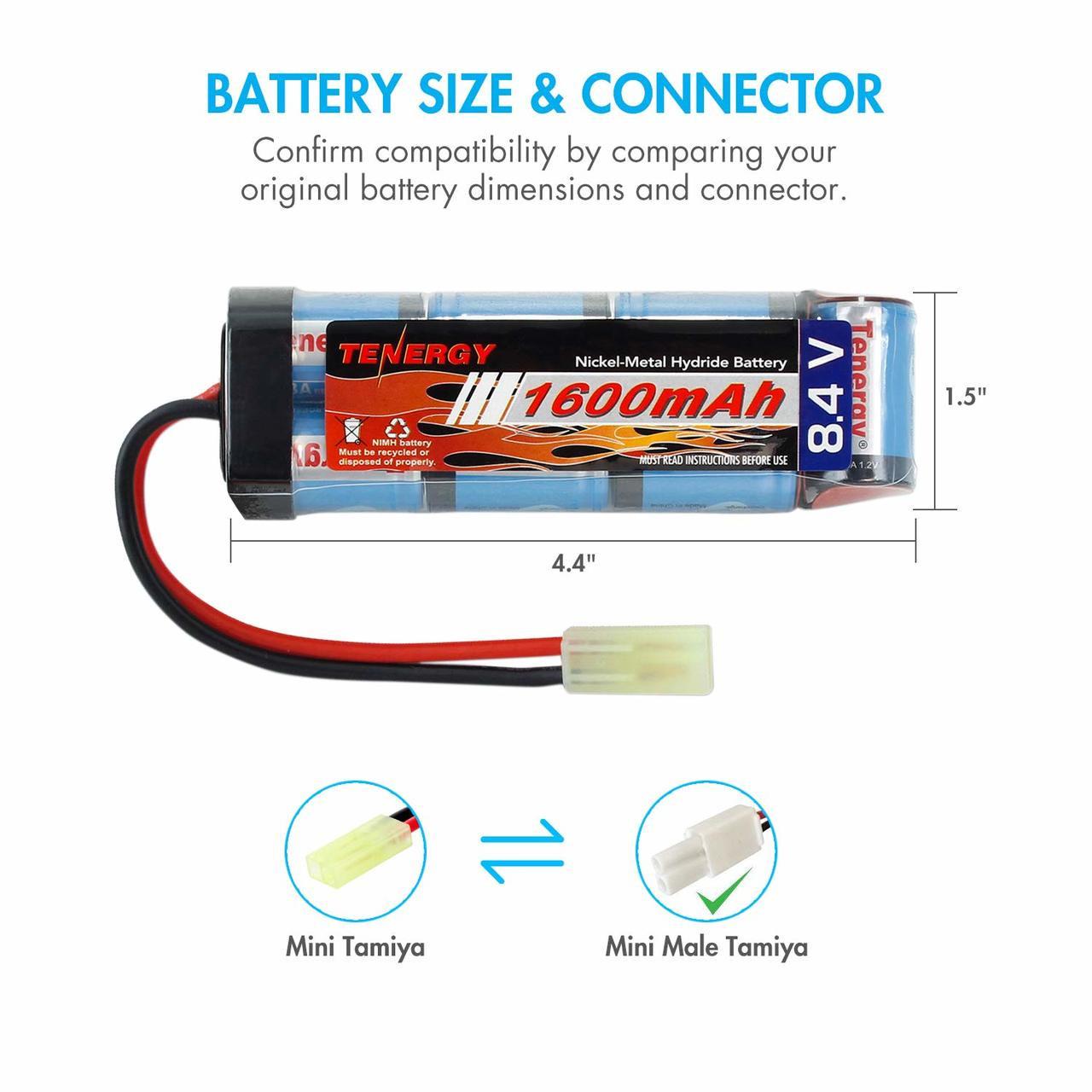 Combo: Tenergy Airsoft NiMH 8.4V 1600mAh Flat Battery Pack /w Mini Tamiya + Charger (#01026)