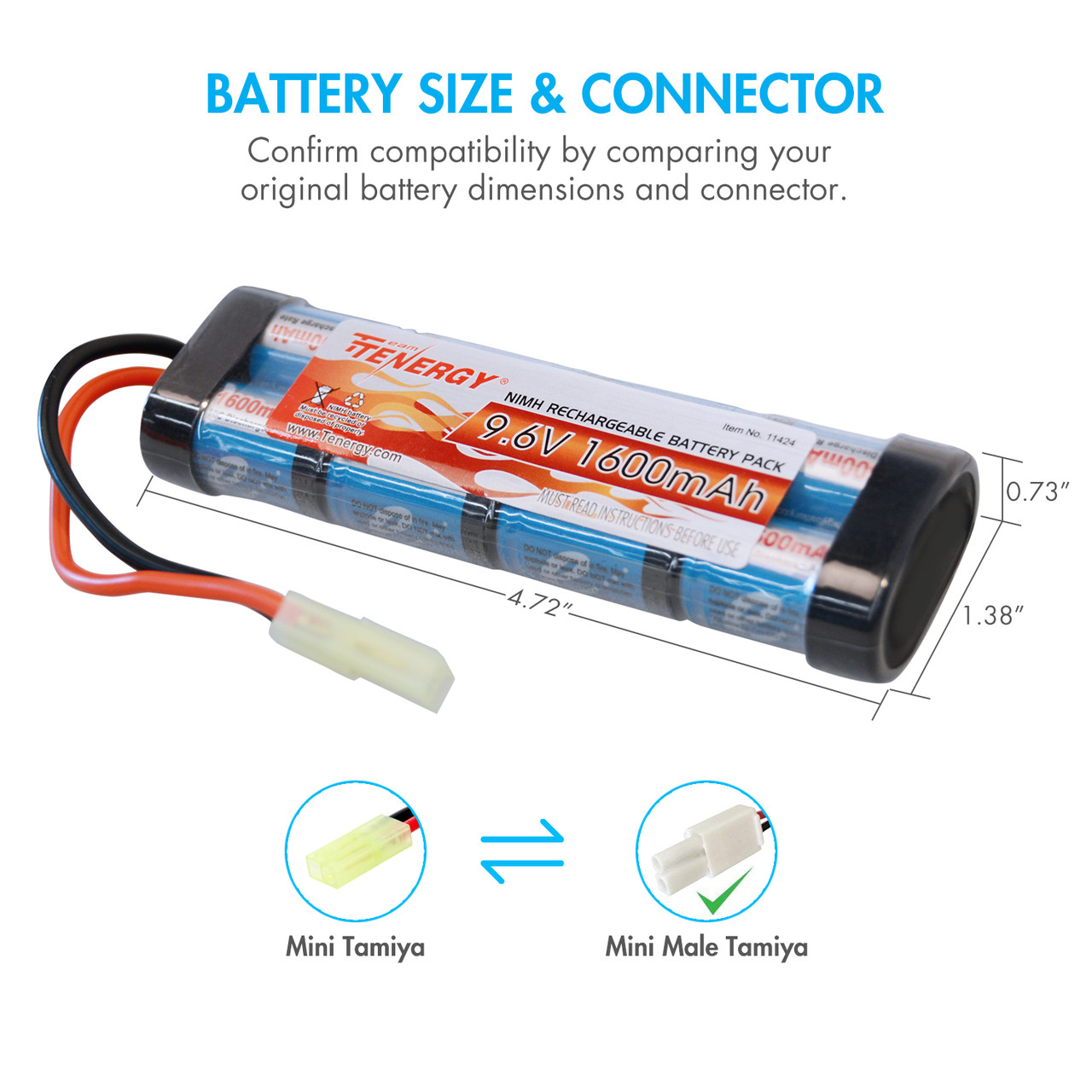 Combo: Tenergy Airsoft NiMH 9.6V 1600mAh Flat Battery Pack /w Mini Tamiya + Charger (#01026)