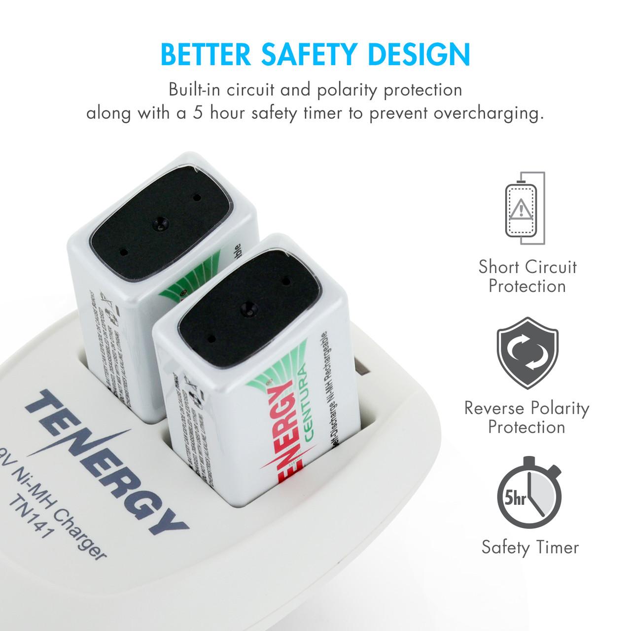 Combo: Tenergy TN141 2-bay 9V Charger + 4pcs Premium 9V 250mAh NiMH Rechargeable Batteries