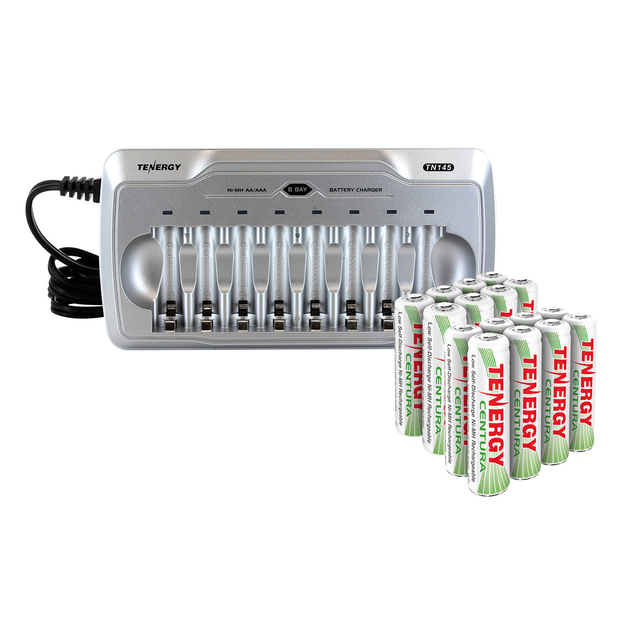Combo: Tenergy TN145 8-Bay AA/AAA NiMH Battery Charger + 2 AA & 2 AAA Cards of Centura Batteries