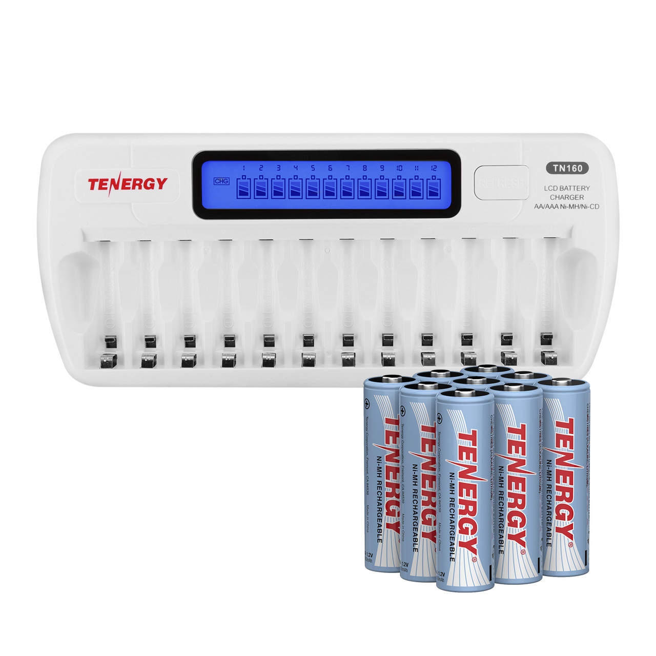 Tenergy TN160 12-Bay AA//AAA Battery Charger 24 AAA NiMH Rechargeable Batteries