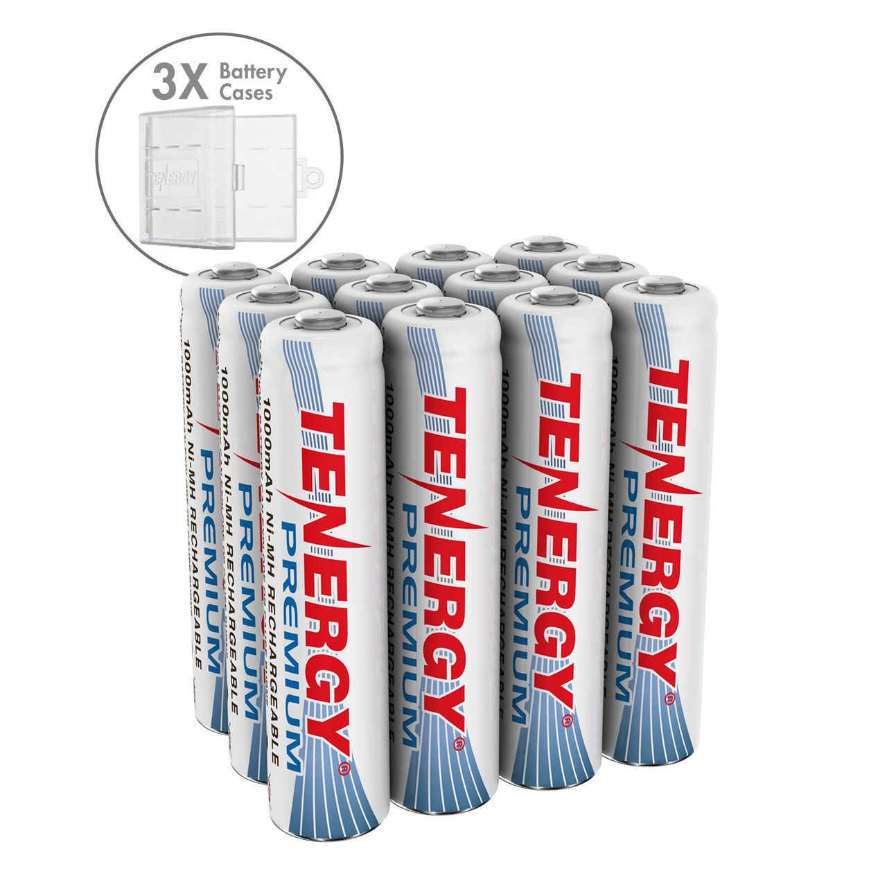 Combo: Tenergy Premium NiMH AAA 1000mAh Rechargeable Batteries, 12-pack (+ 3 x Holders)