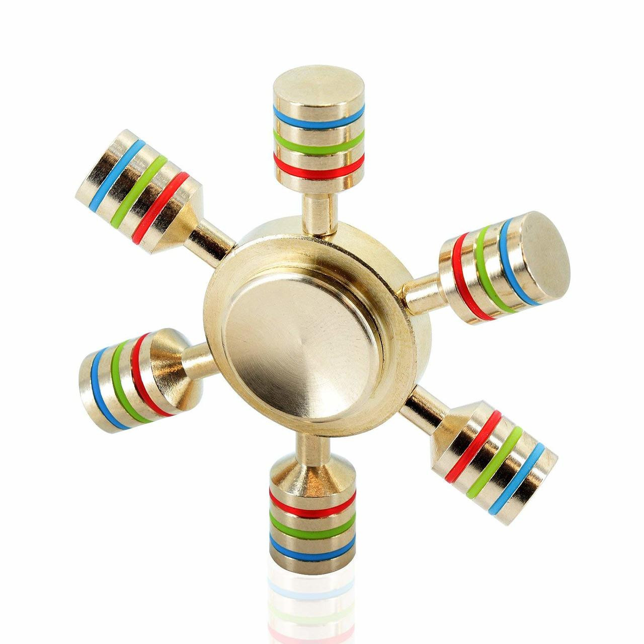 Premium Fidget Spinners - Heavy Duty Brass , Stainless Steel Bearing, 3+ Minutes Spinning, Tri-Band Colored Bars