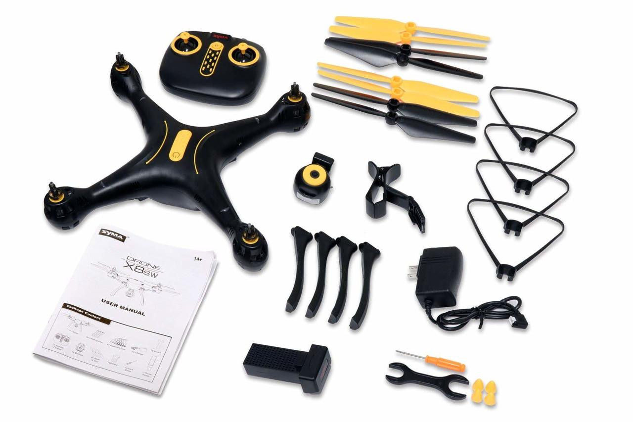 Syma X8SW WIFI FPV Quadcopter Drone with 720P HD Camera Altitude Hold RC 2.4G 4CH 6 Axis (Exclusive Black Yellow Color)