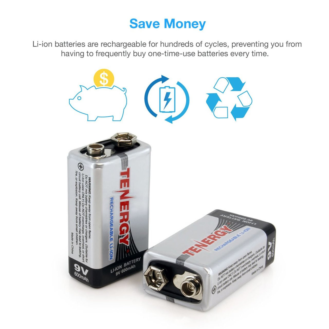 Tenergy Li-ion 9V 600mAh Rechargeable Battery, 10-pack + TN295 10-Bay Charger