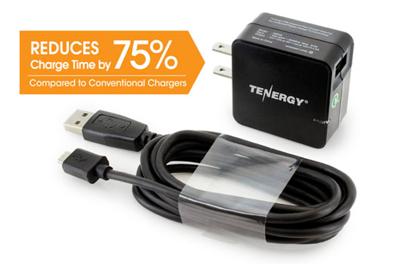 Tenergy 18W Turbo USB Universal AC Smartphone Wall Adaptive Fast Charger w/ Qualcomm® Quick Charge 2.0 Technology - 6ft cable included
