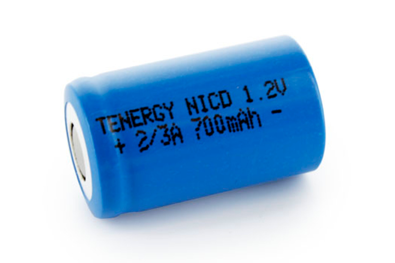 Tenergy 2/3A 700mAh NiCd Flat Top Rechargeable Battery