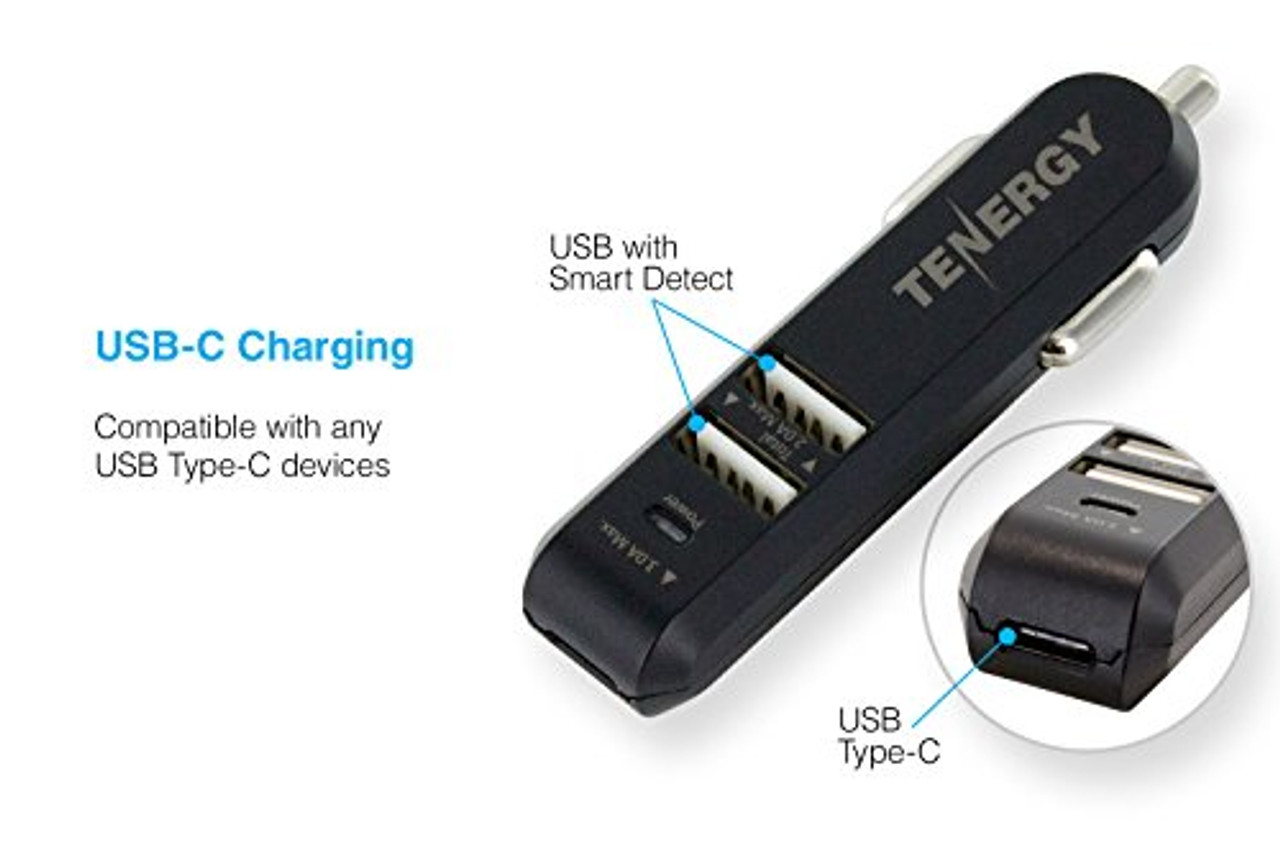 Tenergy 25W USB Type C 3-Port Universal High Speed Car Charger for LG G5, Nexus 6P, 5X , Apple iPhone, iPad, Samsung and many more