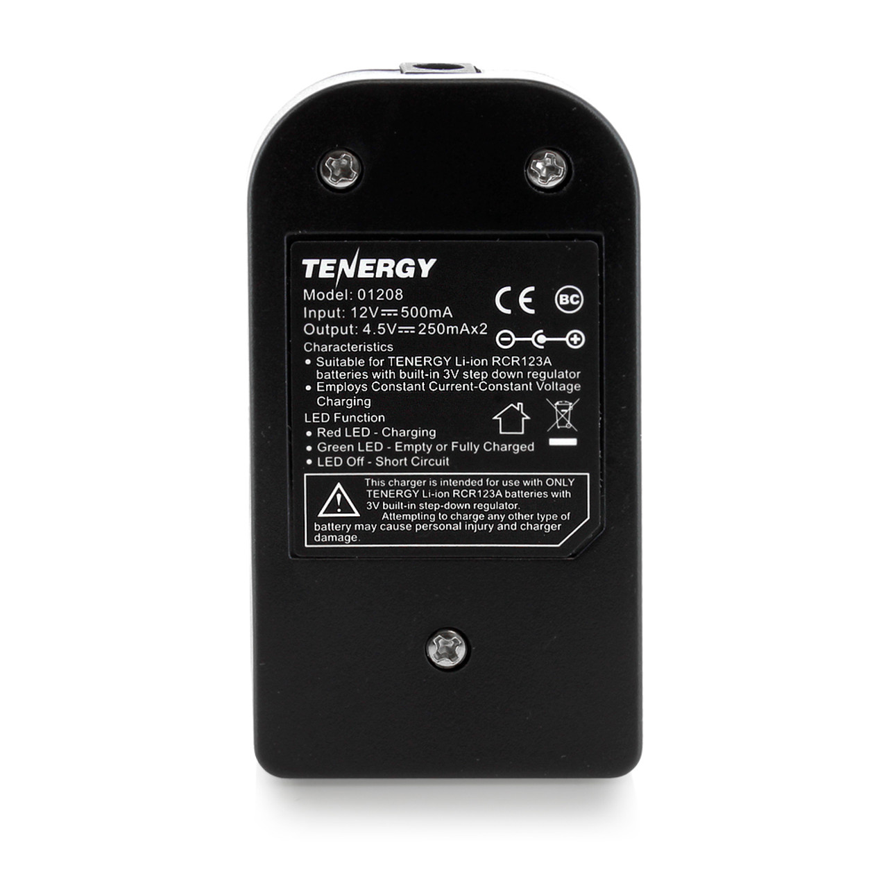 Tenergy 2-Bay Smart Charger for RCR123A 3.0V 600mAh Li-ion Rechargeable Batteries