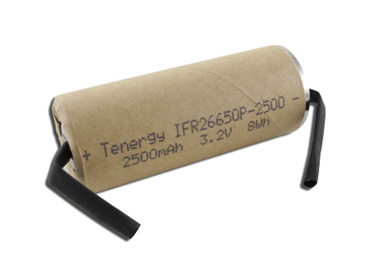 Tenergy 3.2V 2500mAh 8Wh LiFePO4 (IFR26650P) Power Cell Rechargeable Battery (UL Listed)