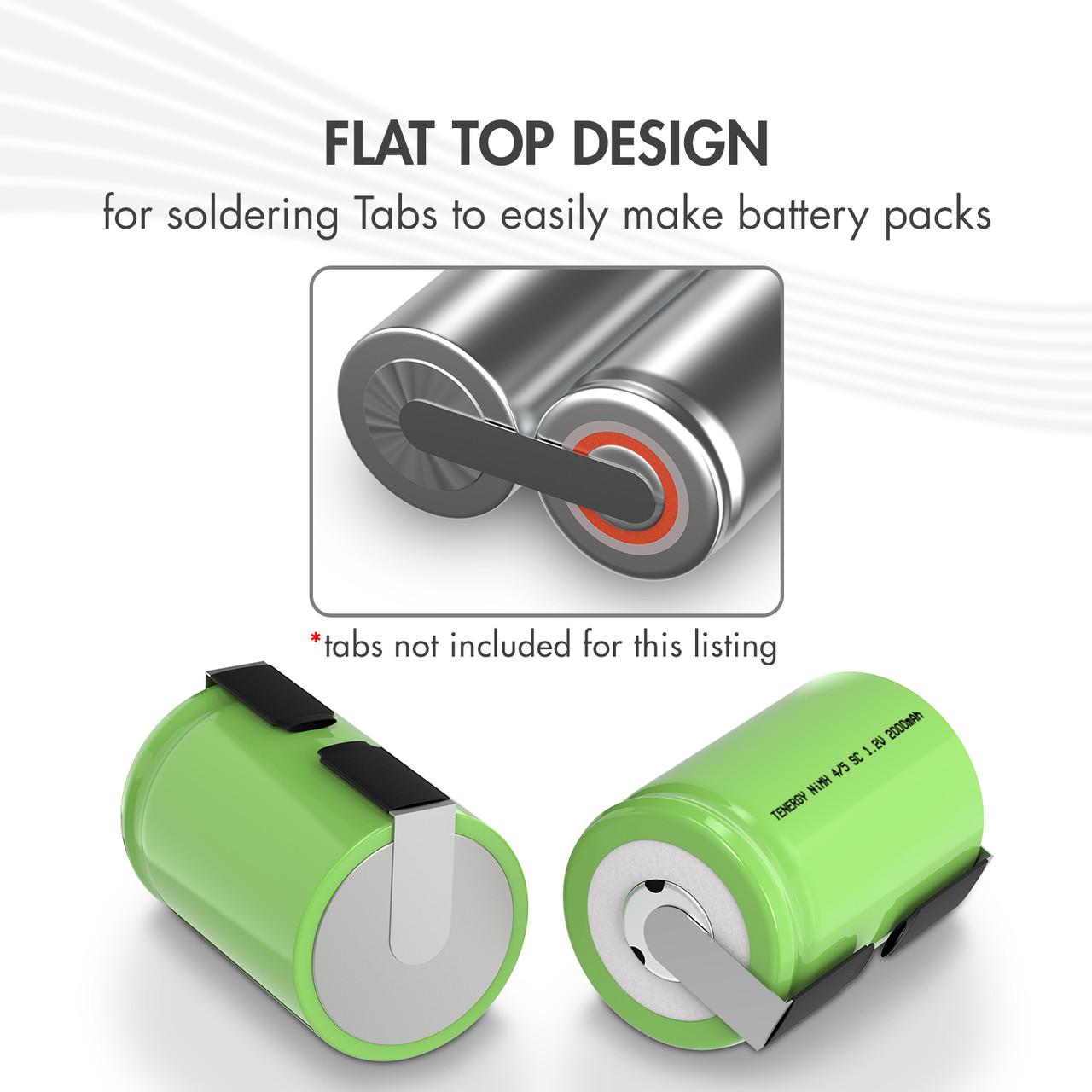 Tenergy 4/5 Sub C 2000mAh NiMH Flat Top Rechargeable Battery