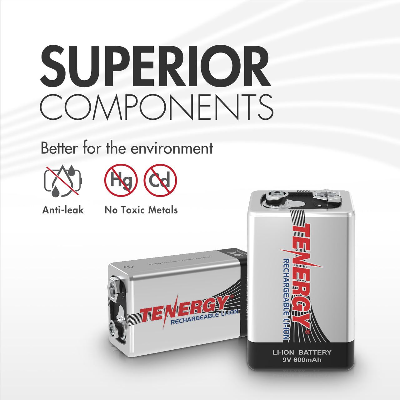 Tenergy 9V 600mAh Li-ion Rechargeable Battery