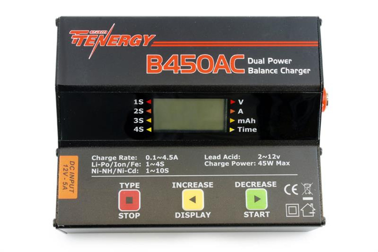 Tenergy B450AC 45W AC/DC Compact Balance Charger for NiMH/NiCd/LiPo/Li-ion /LiFePO4/Lead Acid Battery Packs