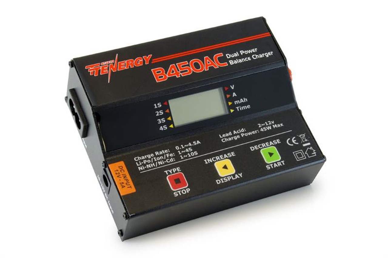 Tenergy B450AC 45W AC/DC Compact Balance Charger for NiMH/NiCd/LiPo/Li-ion /LiFePO4/Lead Acid Battery Packs
