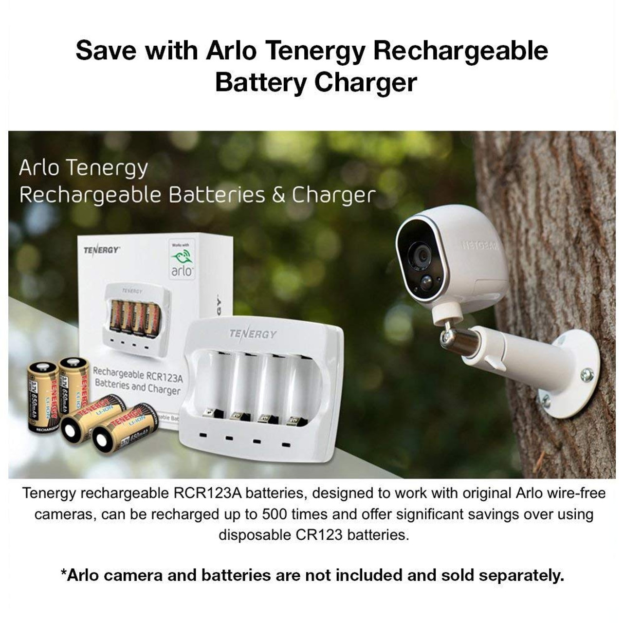 Battery Charger for Arlo Certified 3.7V RCR123A Li-ion Rechargeable Batteries (for Arlo Smart Security Cameras