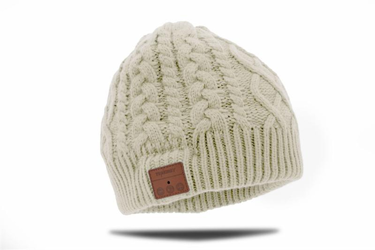 Tenergy Bluetooth Beanie - Braid Cable Knit (Color: Cream)