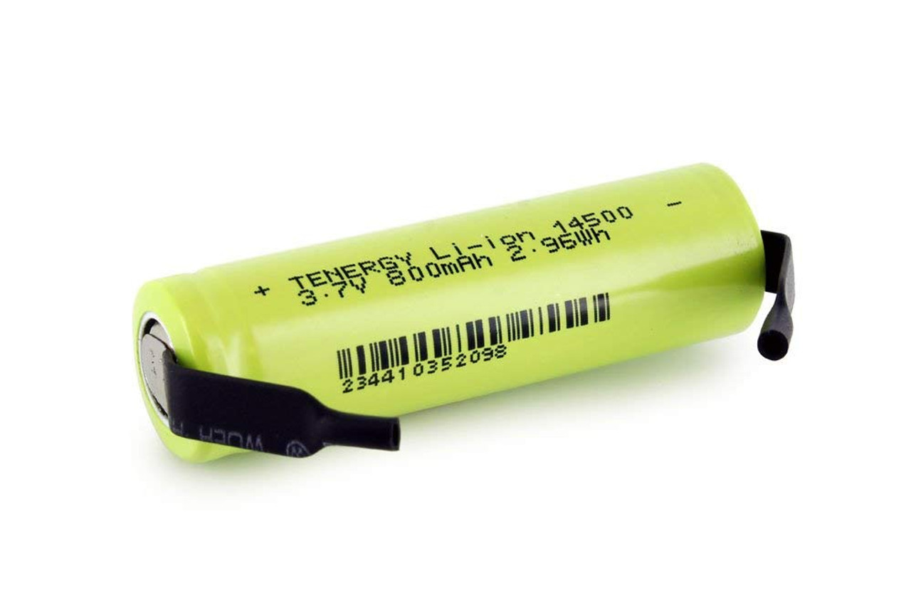 Tenergy Li-ion 14500 Cylindrical 3.7V 800mAh Flat Top Rechargeable Battery - UL Listed