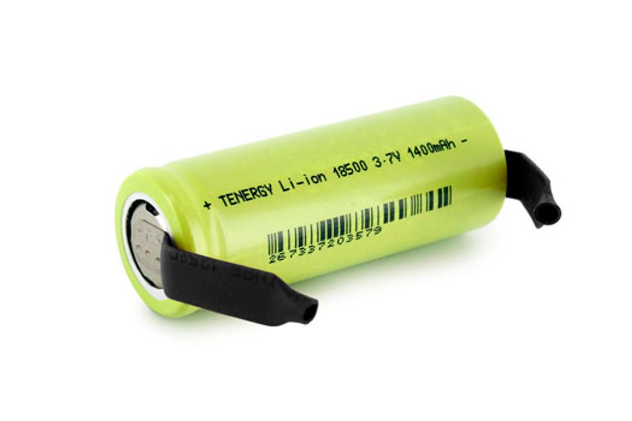 Tenergy Li-ion 18500 Cylindrical 3.7V 1400mAh Flat Top Rechargeable Battery